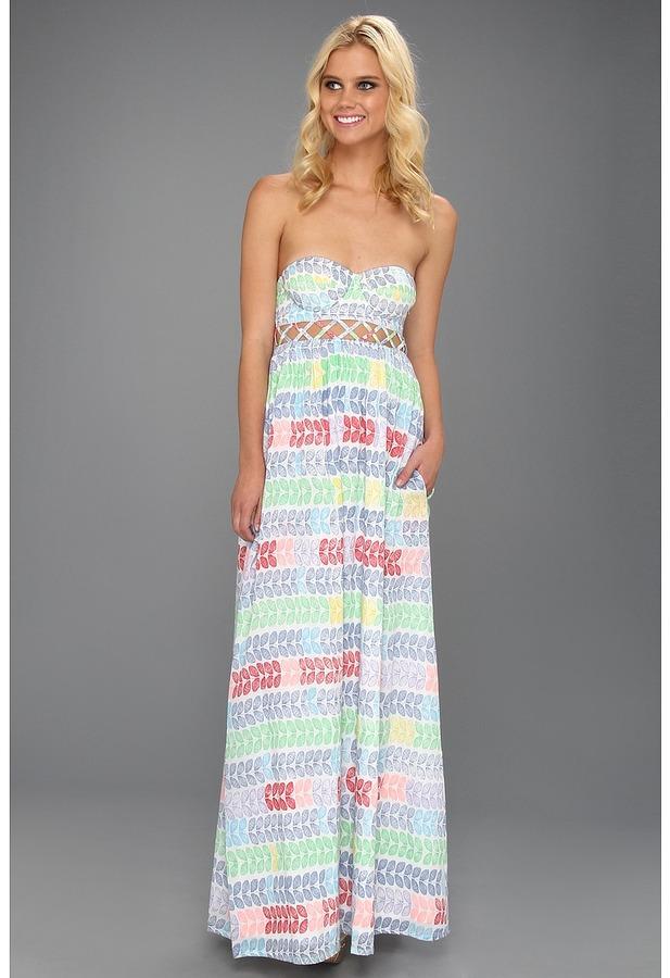 Mara Hoffman Leis Cotton Voile Lattice Bustier Maxi Dress (Voile Leis) - Apparel