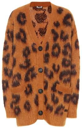 Miu Miu Leopard mohair-blend cardigan