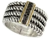 Effy 18K Yellow Gold and Black Diamonds Twist Ring