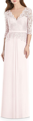 Jenny Packham Bridesmaids V-Neck 3/4-Sleeve Crepe Bridesmaids Dress w/ Marquis Lace Bodice