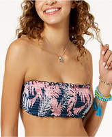 Hula Honey Junior's Paradise Leaves Printed Bandeau Bikini Top, Created for Macy's Women's Swimsuit