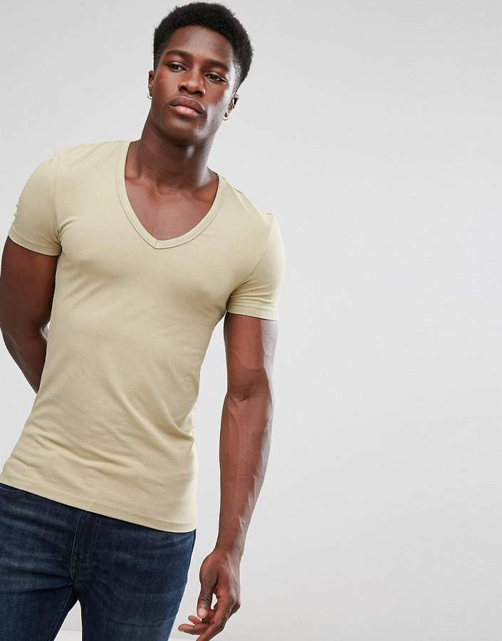 Asos Extreme Muscle Fit T-Shirt With Deep V Neck And Stretch