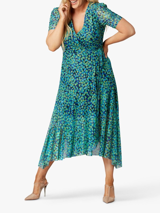 Live Unlimited Curve Aqua Mesh Wrap Midi Dress, Blue