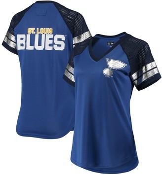 G Iii Women's G-III 4Her by Carl Banks Blue/Navy St. Louis Blues Franchise Raglan V-Neck T-Shirt