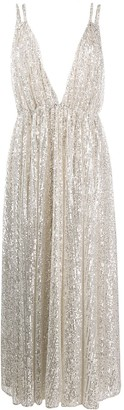 Amen sequinned V-neck gown