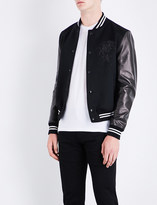 Alexander McQueen Cashmere-blend and leather bomber jacket