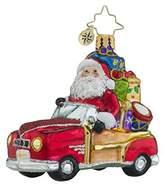 Christopher Radko Vintage Ride Little Gem Santa Claus Christmas Ornament by