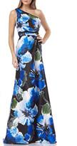 Carmen Marc Valvo Floral-Printed One-Shoulder Mikado Gown