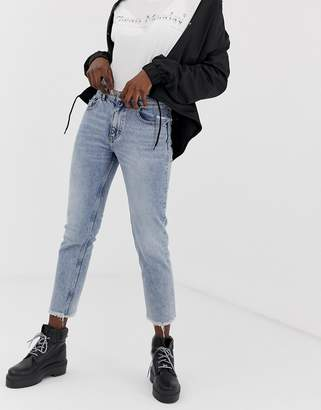 Cheap Monday Revive straight cut raw hem jeans-Blue