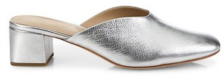 Loeffler Randall Lulu Metallic Leather Block Heel Mules