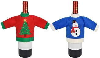 St Nicholas Square 2-pk. Holiday Sweater Wine Bottle Cover Set