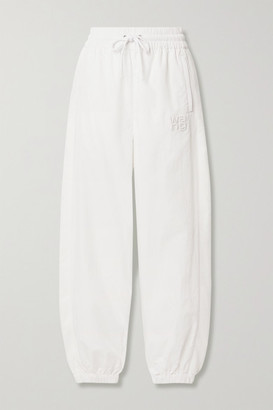 Alexander Wang Embroidered Shell And Cotton-jersey Track Pants - White