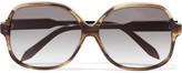 Victoria Beckham Square-frame Acetate Sunglasses - Brown