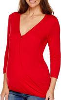 Asstd National Brand Maternity Long-Sleeve Faux-Wrap Blouse - Plus