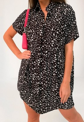 Missguided Black Ditsy Floral Print Shirt Smock Dress