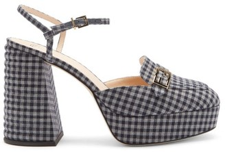 Fendi Promenade Gingham Cross-strap Platform Sandals - Blue Multi