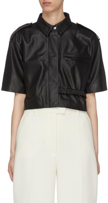 REMAIN 'Marcha' Shoulder Strap Spread Collar Crop Leather Shirt
