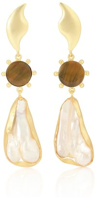 PEET DULLAERT 14kt Gold-Plated Earrings With Tiger's Eye And Viva Pearl