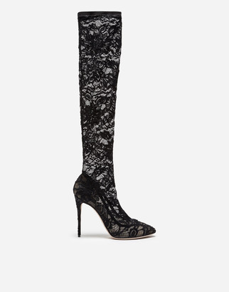 Dolce & Gabbana Boot In Stretch Lace And Gros Grain