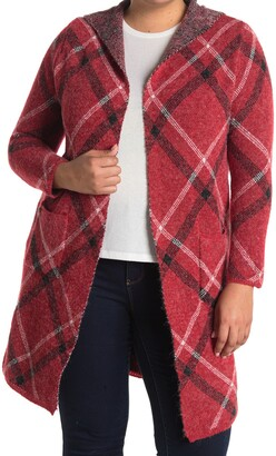 Joseph A Printed Open Front Knit Cardigan