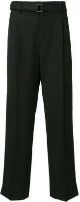 Solid Homme Belted Straight Leg Trousers