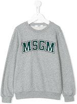 MSGM embroidered logo plaque sweatshirt - kids - Cotton - 4 yrs