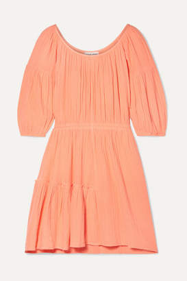 Apiece Apart Camellia Crinkled Cotton-gauze Mini Dress - Coral