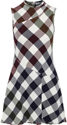 Victoria Beckham Flared Gingham Boucle-knit Mini Dress