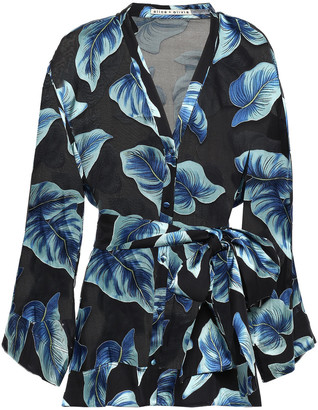 Alice + Olivia Amos Belted Printed Burnout Chiffon Blouse