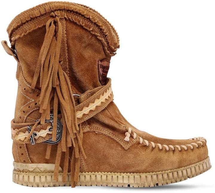 EL VAQUERO 70mm Arya Suede Fringed Wedge Boots