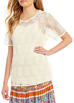 Multiples Short Dolman Sleeve Lace Top