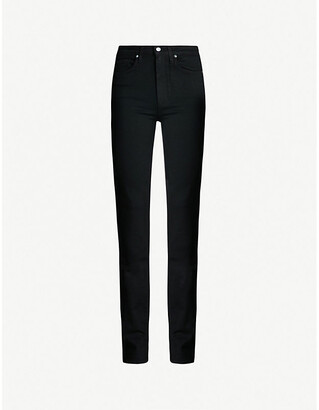 Paige Ladies Black Leather Ripped Denim Comfortable Straight High-Rise Jeans, Size: 23