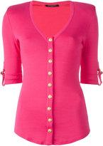 Balmain button front knitted top - women - Cotton - 34