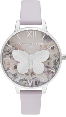 Olivia Burton 3D Butterfly Leather Watch, 34mm