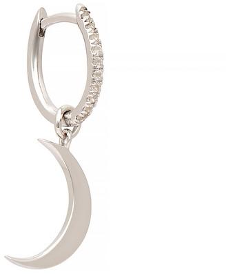 Otiumberg Sterling Silver Moon Charm Hoop Earring
