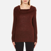 Gestuz Women's Oba Scoop Neck Detail Jumper Burnt Henna