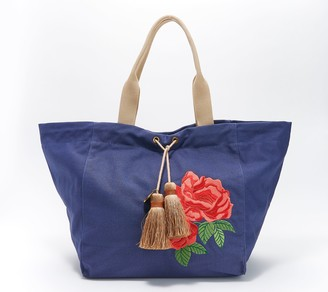 G.I.L.I. Got It Love It G.I.L.I. Embroidered Canvas Tote Bag with Tassels