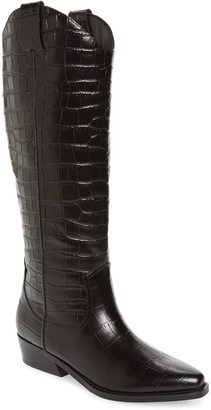 Marc Fisher Haze Croc Embossed Leather Western Boot