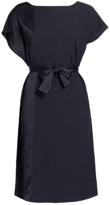 Piazza Sempione Satin & Crepe Belted Dress