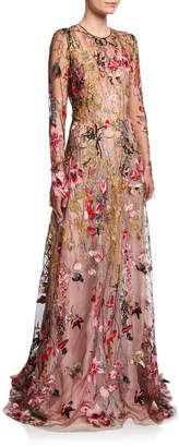 Naeem Khan Long-Sleeve Flower Embroidered Gown