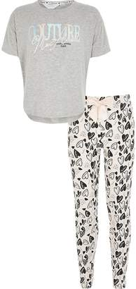 River Island Girls grey 'Couture' printed pyjamas