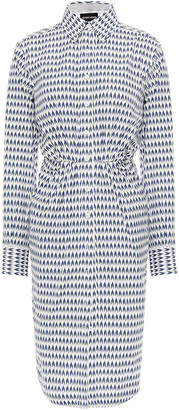 Giorgio Armani Pleated Printed Cotton-poplin Shirt Dress