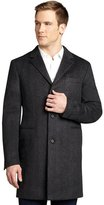 Prada anthracite wool blend three-button coat