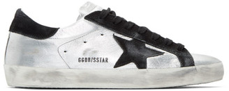 Golden Goose Silver and Black Superstar Sneakers