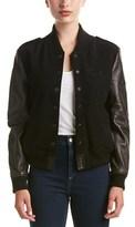 Etienne Marcel Leather-trim Wool-blend Bomber Jacket.