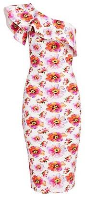 Chiara Boni Elisse Print Ruffle Cocktail Dress