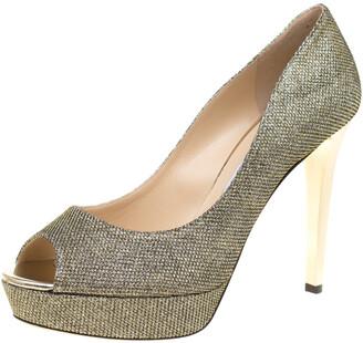 Jimmy Choo Metallic Gold Lame Glitter Fabric Dahlia Platform Peep Toe Pumps Size 40.5
