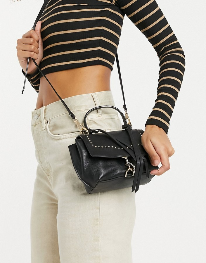 Rebecca Minkoff stella leather mini satchel crossbody bag in black