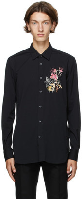 Alexander McQueen Black Organic Cotton Floral Shirt