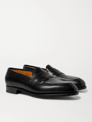 Edward Green Piccadilly Leather-Trimmed Suede Penny Loafers - Men - Black